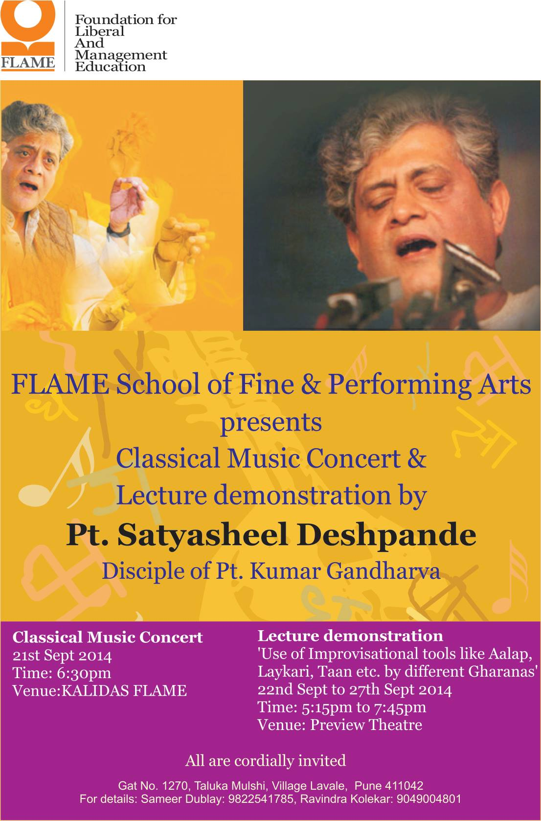 Concert and Lec-Dem at FLAME, Pune